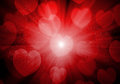 Valentine s day red hearts background bokeh Royalty Free Stock Images