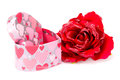 Valentine s day red rose and gift box isolated on white background Royalty Free Stock Photo