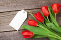 Valentine's day red tulips with tag Royalty Free Stock Photo