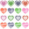 Valentine s day retro hearts collection set of st valentines or saint isolated on white background eps file available Royalty Free Stock Photography