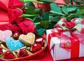Valentine's day roses, candles and gift Royalty Free Stock Photo