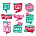Valentine s Day Sale Banner Set Vector. Sale Voucher Royalty Free Stock Photo