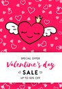 Valentine`s day sale banner template red