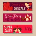 Valentine`s Day Sale Banners Design. Vector illustration