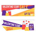 Valentine`s day sale banners