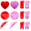 Valentine s day sale elements set collection of st valentines or saint gift tags labels bookmarks stickers and corner ribbons in Stock Images