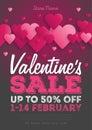 Valentine`s Day Sale Vintage flyer. Background With Hearts. Vector illustration