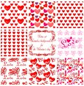 Valentine s day seamless backgrounds vector set for the Stock Images