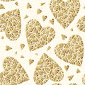 Valentine`s day seamless pattern with gold glitter hearts. Seamless texture with hearts, ideal for celebrations, wedding Royalty Free Stock Photo