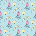 Valentine`s day seamless pattern roses and hearts. romantic seamless pattern with red hearts on a color background by