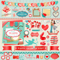 Valentine`s Day set Stock Images