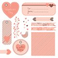 Valentine s day set of design elements vector illustration Royalty Free Stock Image