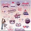 Valentine s day set labels emblems and other decorative elements Royalty Free Stock Photo