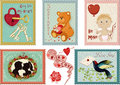 Valentine s day stamps collection colorful of Stock Photography