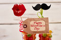 Valentine`s Day tag and candies. Royalty Free Stock Photo