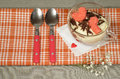 Valentine's Day tiramisu with chocolate in glass cup. Royalty Free Stock Photo