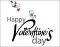 Valentine s day type text with birds and hearts two Stock Photography