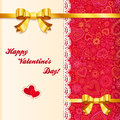 Valentine's day vector lacy card with golden bows Royalty Free Stock Photography