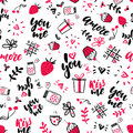 Valentine s Day vector seamless pattern. Isolated Artistic doodle drawings, lettering, love quotes. Royalty Free Stock Photo