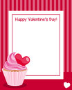 Valentine s day vertical frame st valentines or saint photo with a white heart and a sweet cupcake on red background eps file Stock Images