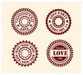 Valentine's Day Vintage Stamps Stock Photo