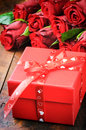Valentine s gift box with red roses bouquet Royalty Free Stock Image