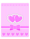 Valentine's greeting card with pink hearts Stock Photo