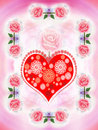 Valentine's heart and painted roses Stock Photography