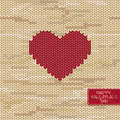 Valentine s knitted seamless pattern or card with heart on a melange background and greeting tag Royalty Free Stock Photography