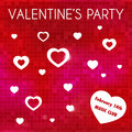 Valentine s party invitation abstract with colorful background and white texts and hearts Royalty Free Stock Photography