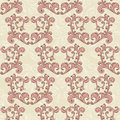 Valentine s seamless romantic background with hearts and vintage floral ornament Stock Image