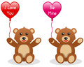 Valentine s teddy bear with balloon a cute st valentines or saint day holding a heart shaped isolated on white background in two Stock Photography