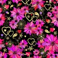 Valentine seamless dark floral pattern grunge with pink flowers and hearts vector Stock Image