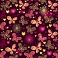 Valentine seamless dark pattern purple with gold butterflies and glowing hearts vector Royalty Free Stock Photo
