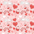 Valentine seamless pattern with hearts and swans Stock Photos