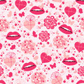 Valentine seamless pattern with lips Stock Photo