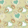 Valentine seamless pattern with rings and hearts Royalty Free Stock Photography
