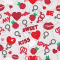 Valentine seamless pattern wallpaper Royalty Free Stock Photo