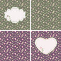 Valentine seamless patterns with hearts and roses Stock Photos