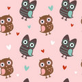 Valentine seamless texture with owls and hearts Stock Image