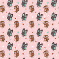 Valentine seamless texture with owls and hearts Stock Photography