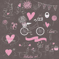 Valentine set with cute flowers in hand drawn style black background Royalty Free Stock Photo
