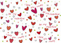 Valentine style background with cartoon graphic colored hearts and holiday texts Stock Photo