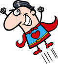 Valentine superhero man cartoon illustration Stock Photos