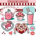 Valentine sweet treats illustration collection chocolates cupcake candy hearts cake Royalty Free Stock Photo