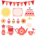 Valentine tea party set of design elements Stock Photos