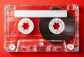 Valentine theme valentines day card vintage audio cassette on red background Stock Photography