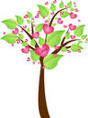 Valentine tree with leaves and hearts Stock Photography