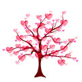 Valentine tree of love with leaf from hearts