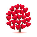 Valentine tree, love, leaf from hearts. Vector illustration.